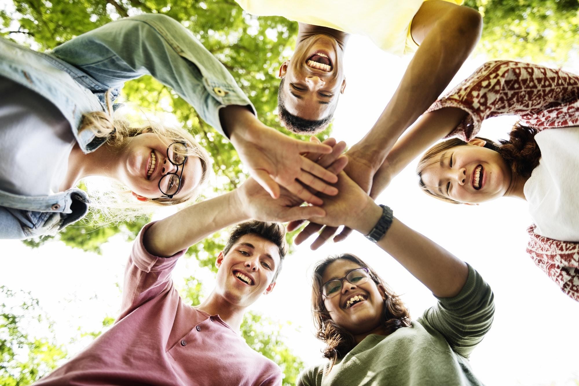 Diverse Teens Hands Together Concept